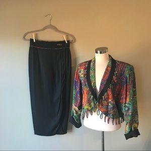 Vintage 80s Abstract Print Blazer Midi Skirt Set